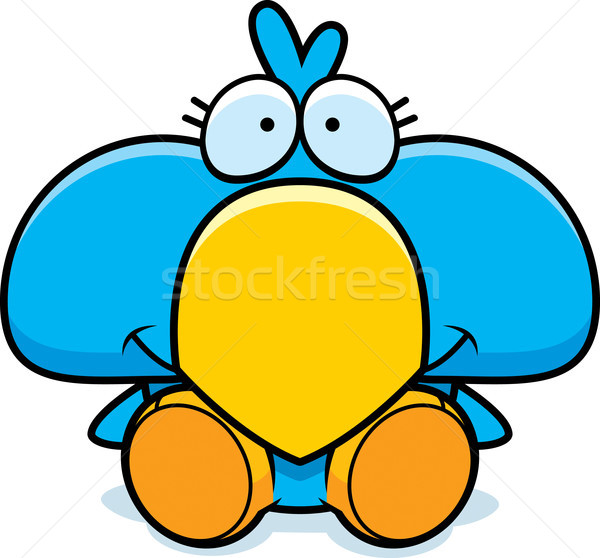 Cartoon Blue Bird Sitting Stock photo © cthoman