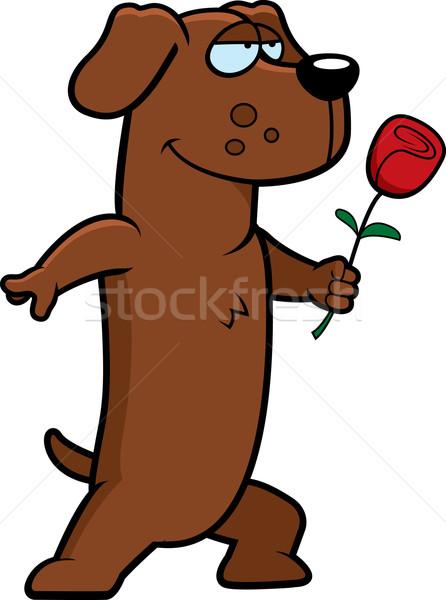 Teckel bloem gelukkig cartoon hond liefde Stockfoto © cthoman