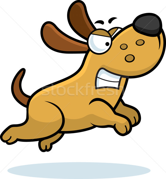 Boos hond cartoon lopen Stockfoto © cthoman