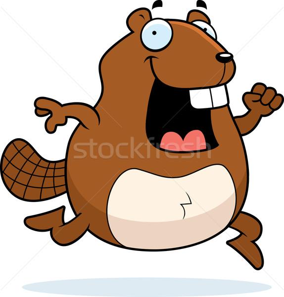 Castor corrida feliz desenho animado sorridente Foto stock © cthoman