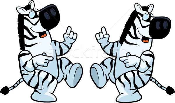 Zebra dança feliz desenho animado sorridente Foto stock © cthoman