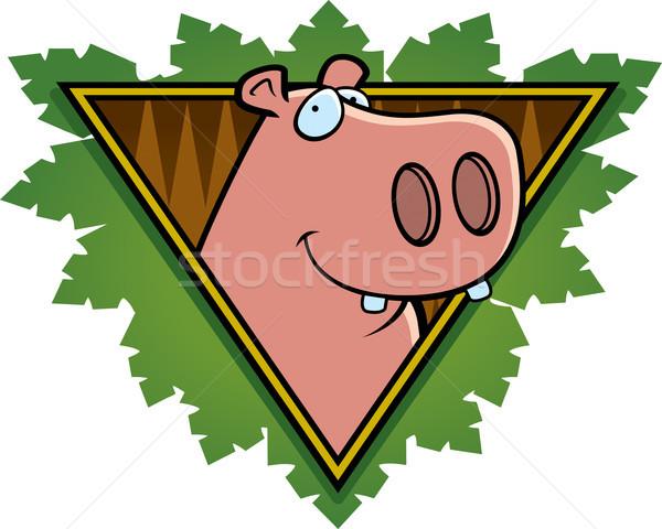 Hipopótamo safári ícone feliz desenho animado folhas Foto stock © cthoman