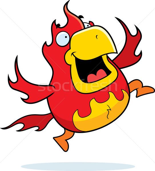 Cartoon phoenix springen gelukkig glimlachend Stockfoto © cthoman