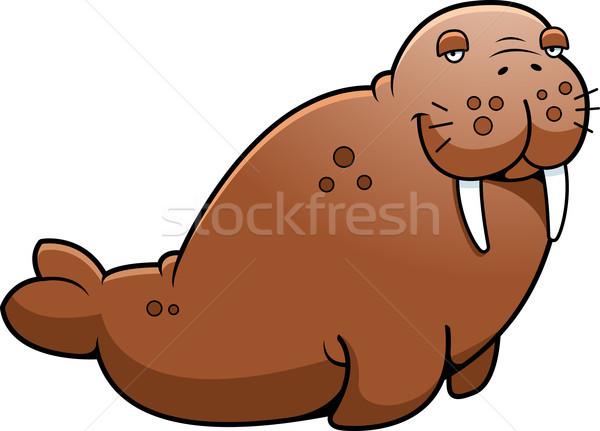 Cartoon коричневый морж сидят Сток-фото © cthoman