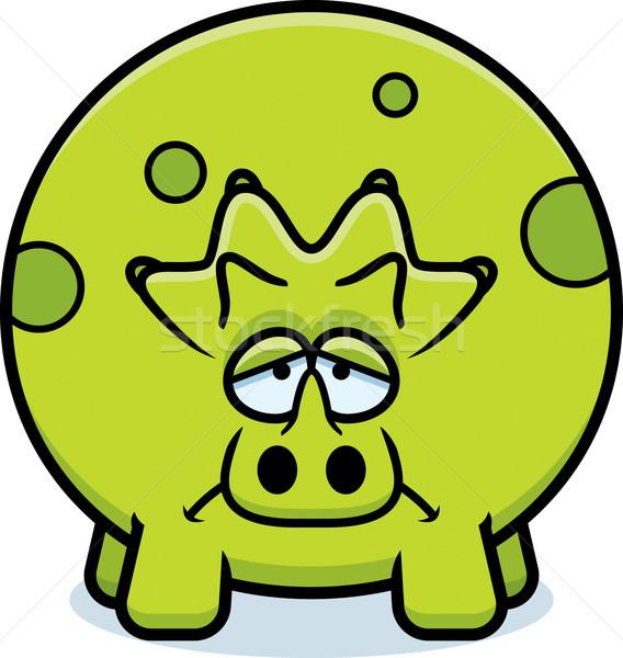 Sad Cartoon Triceratops Stock photo © cthoman