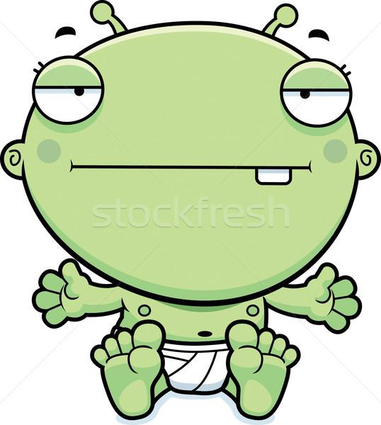 Cartoon Baby Alien Bored Stock photo © cthoman