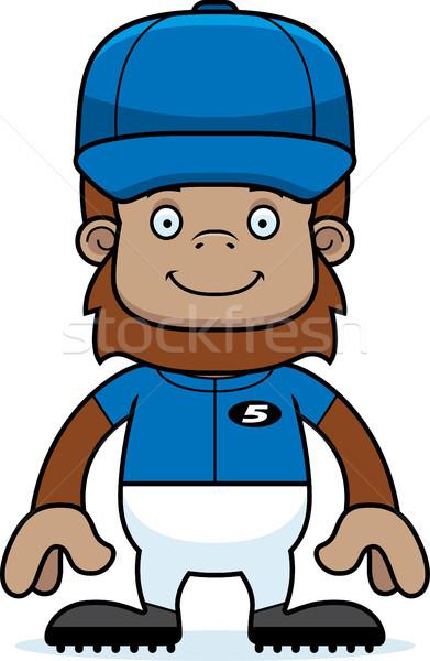 Cartoon sorridere giocatore di baseball baseball animale grafica Foto d'archivio © cthoman