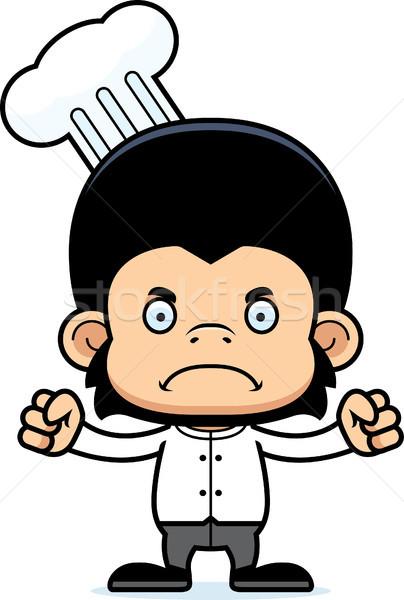 Cartoon boos chef chimpansee naar Stockfoto © cthoman