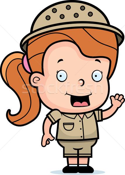 Safari meisje gelukkig cartoon glimlachend Stockfoto © cthoman
