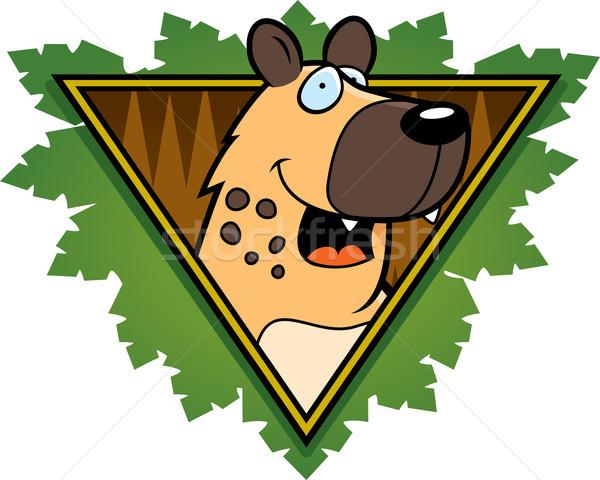 Sırtlan safari ikon mutlu karikatür yaprakları Stok fotoğraf © cthoman