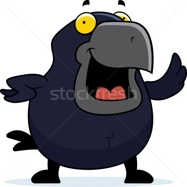 Cartoon Crow Waving Stock photo © cthoman
