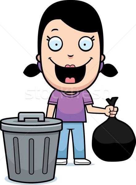 Cartoon девушки мусор счастливым из Сток-фото © cthoman