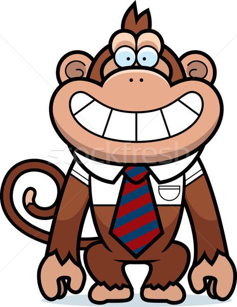 Stock fotó: Rajz · majom · nyakkendő · illusztráció · boldog · állat