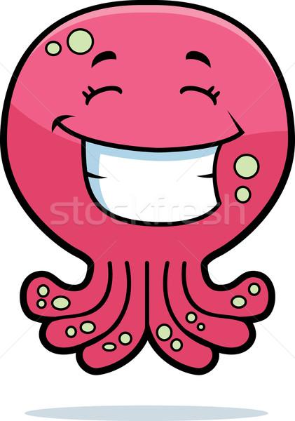 Polvo sorridente desenho animado rosa feliz Foto stock © cthoman