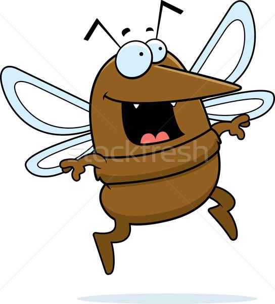 Sivrisinek atlama mutlu karikatür gülen kanatlar Stok fotoğraf © cthoman