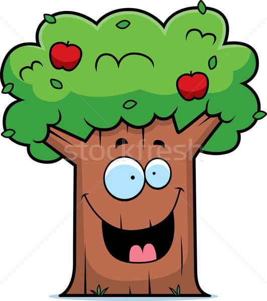 Karikatür elma ağacı gülen mutlu ağaç Stok fotoğraf © cthoman