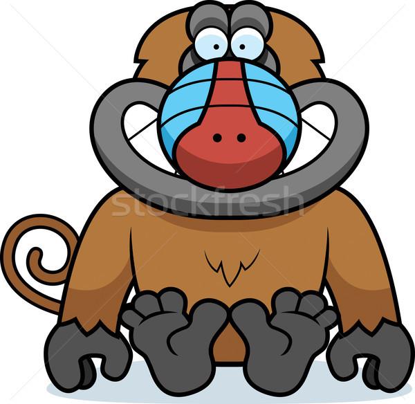 Cartoon бабуин сидят иллюстрация улыбаясь Сток-фото © cthoman