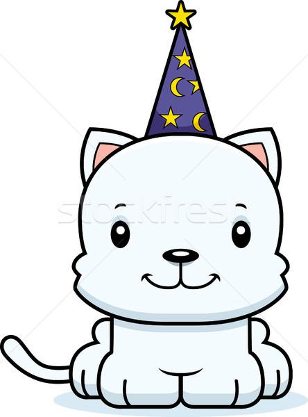 Cartoon Smiling Wizard Kitten Stock photo © cthoman