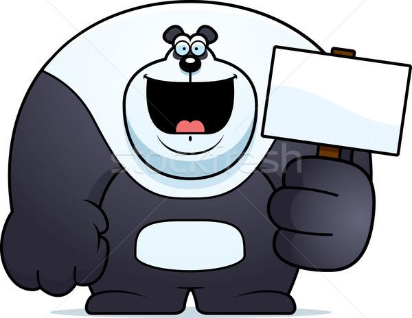 Desenho animado panda assinar ilustração tenha Foto stock © cthoman