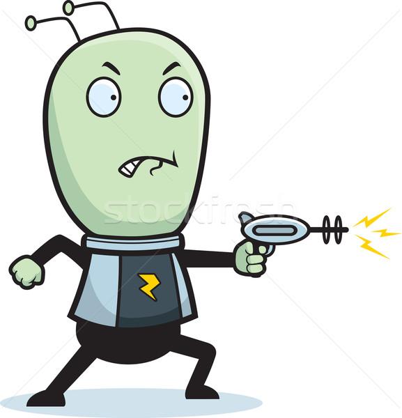 Exóticas disparo Cartoon pequeño verde hombre Foto stock © cthoman