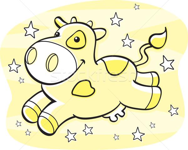 Foto d'archivio: Mucca · lattiginoso · modo · felice · cartoon · giallo