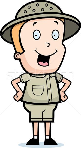 Kâşif gülen mutlu karikatür çocuk ayakta Stok fotoğraf © cthoman