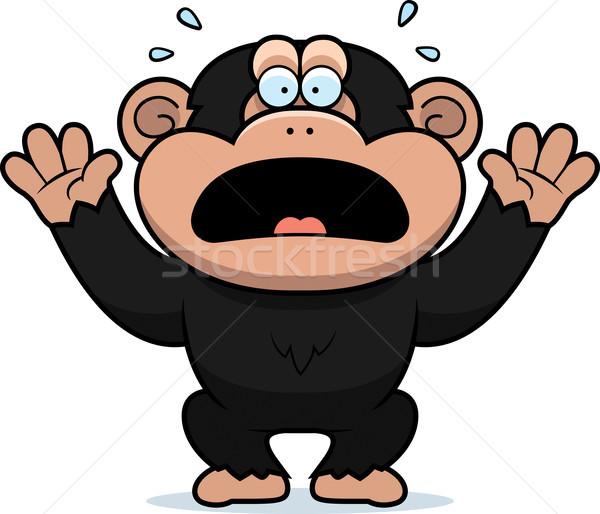 Rajz csimpánz illusztráció grafikus ijedt sikít Stock fotó © cthoman