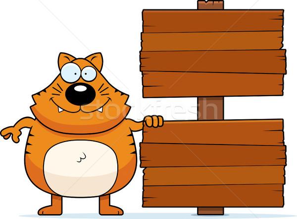 Karikatür kedi imzalamak örnek ahşap Stok fotoğraf © cthoman