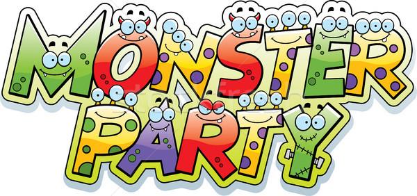 Cartoon mostro party testo illustrazione lettera Foto d'archivio © cthoman