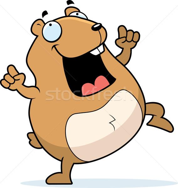 Hamster danse heureux cartoon souriant Photo stock © cthoman