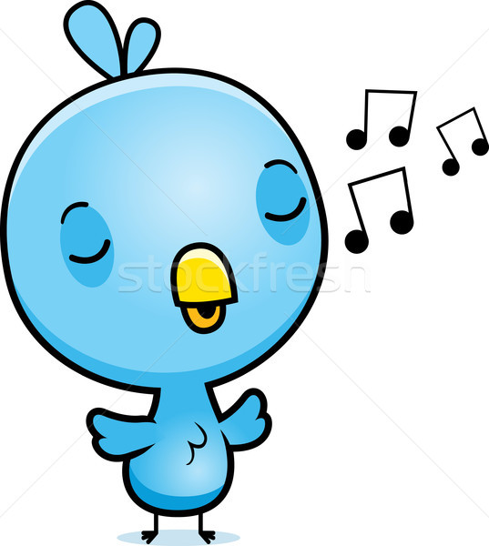 Cartoon Blue Bird Singing Stock photo © cthoman
