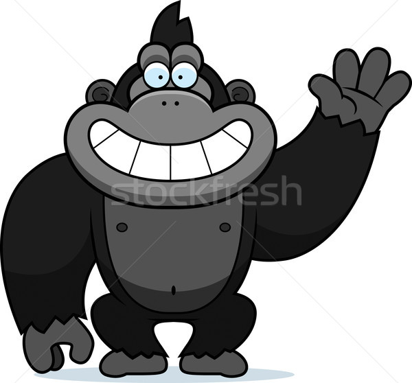 Cartoon Gorilla Waving Stock photo © cthoman