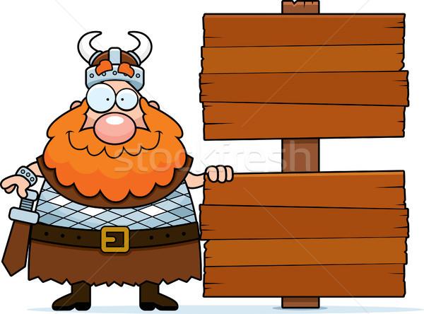 Cartoon Viking Sign Stock photo © cthoman