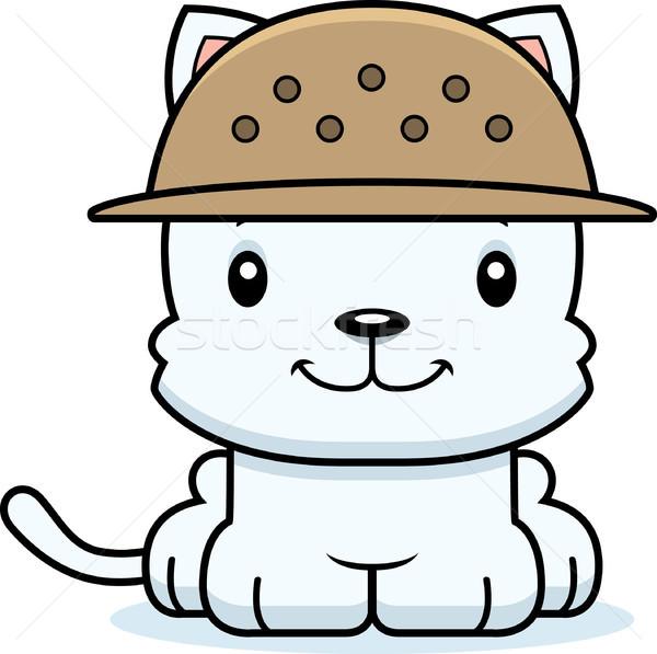 Cartoon Smiling Zookeeper Kitten Stock photo © cthoman
