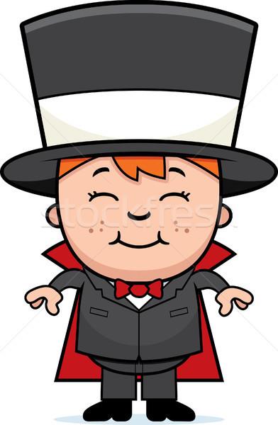 Criança mágico feliz desenho animado em pé sorridente Foto stock © cthoman