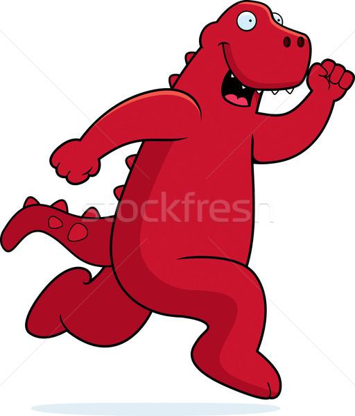 Dinosaurus lopen gelukkig cartoon glimlachend dier Stockfoto © cthoman