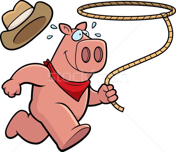豚 ロデオ 幸せ 漫画 を実行して ストックフォト © cthoman