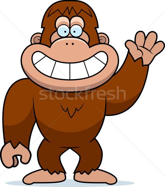 Cartoon Bigfoot Waving Stock photo © cthoman