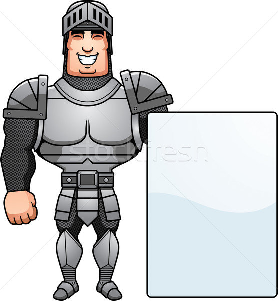 Cartoon chevalier signe illustration Homme homme Photo stock © cthoman