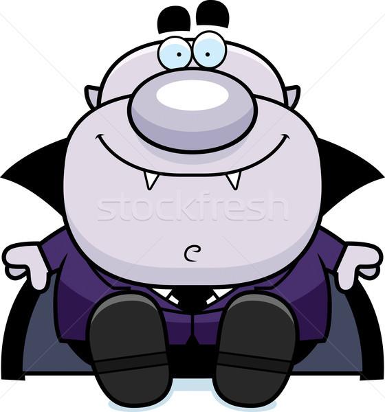 Cartoon vampiro sesión ilustración hombres persona Foto stock © cthoman