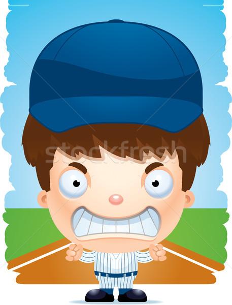 Zangado desenho animado menino jogador de beisebol ilustração crianças Foto stock © cthoman