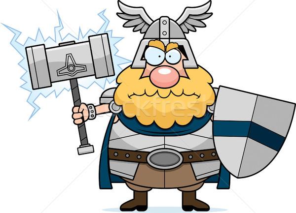 Angry Cartoon Thor Stock photo © cthoman