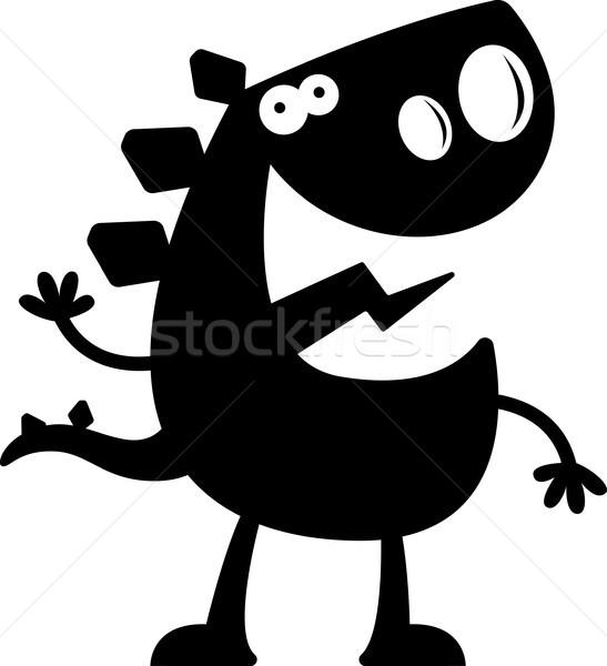 Cartoon Stegosaurus Silhouette Waving Stock photo © cthoman