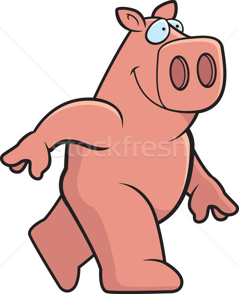 Porco caminhada feliz desenho animado sorridente fazenda Foto stock © cthoman