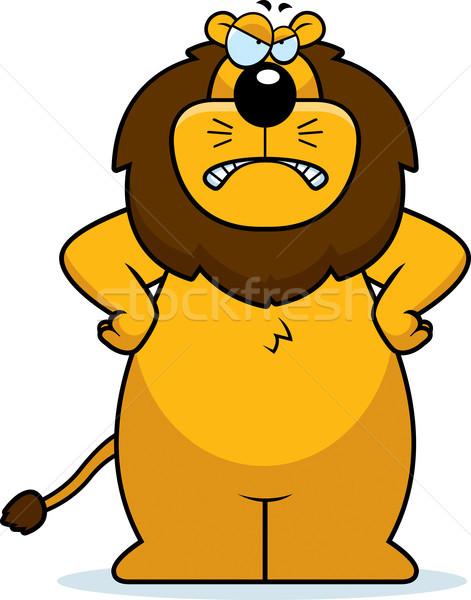 Zły lew cartoon patrząc zdenerwowany Zdjęcia stock © cthoman