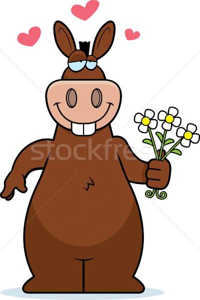 Ezel bloemen gelukkig cartoon boeket liefde Stockfoto © cthoman