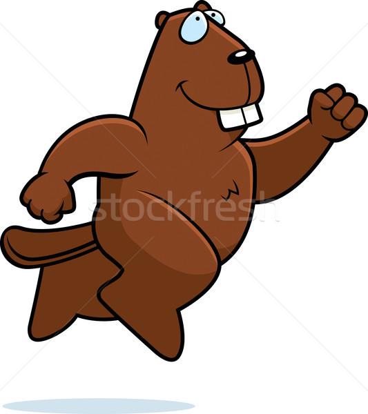бобр прыжки счастливым Cartoon улыбаясь Сток-фото © cthoman