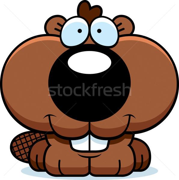 Karikatür kunduz gülen mutlu genç hayvan Stok fotoğraf © cthoman