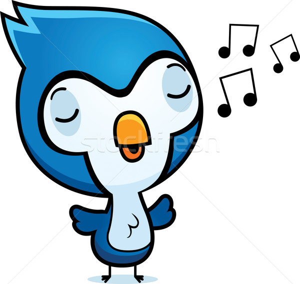 Cartoon Bluejay Singing Stock photo © cthoman