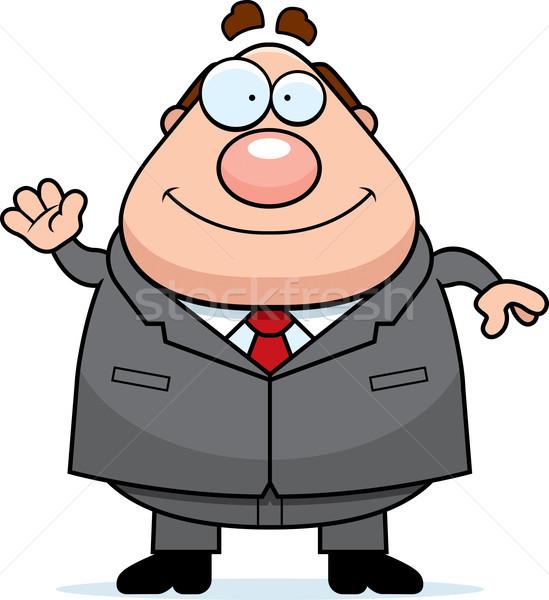 Rajz főnök integet illusztráció mosolyog üzletember Stock fotó © cthoman